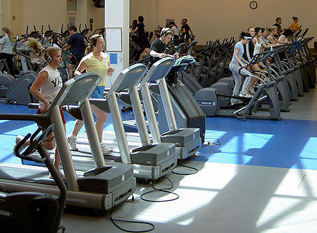 People exercise on treadmills at a gym